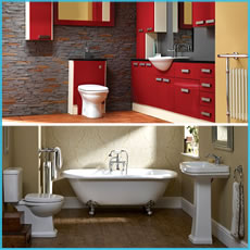 Modern and Traditional Bathroom Suites on display in our bathroom showroom in Blackburn